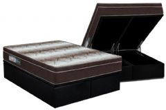 Conjunto Cama Box Baú - Colchão Ortobom Ortopédico Light Orto Pillow + Cama Box Baú Black